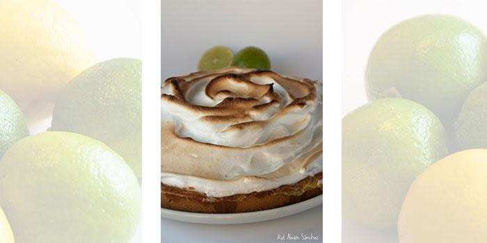 fotografias de limas y limones y de una tarta de limón con merengue
