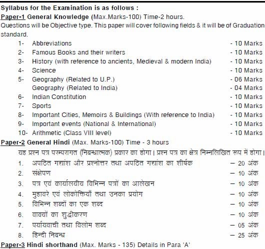 UPPSC aps exam Additional private Secretary 2017 Typing Stenography