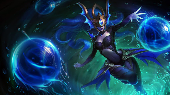 alantean syndra skin splash art league of legends girl
