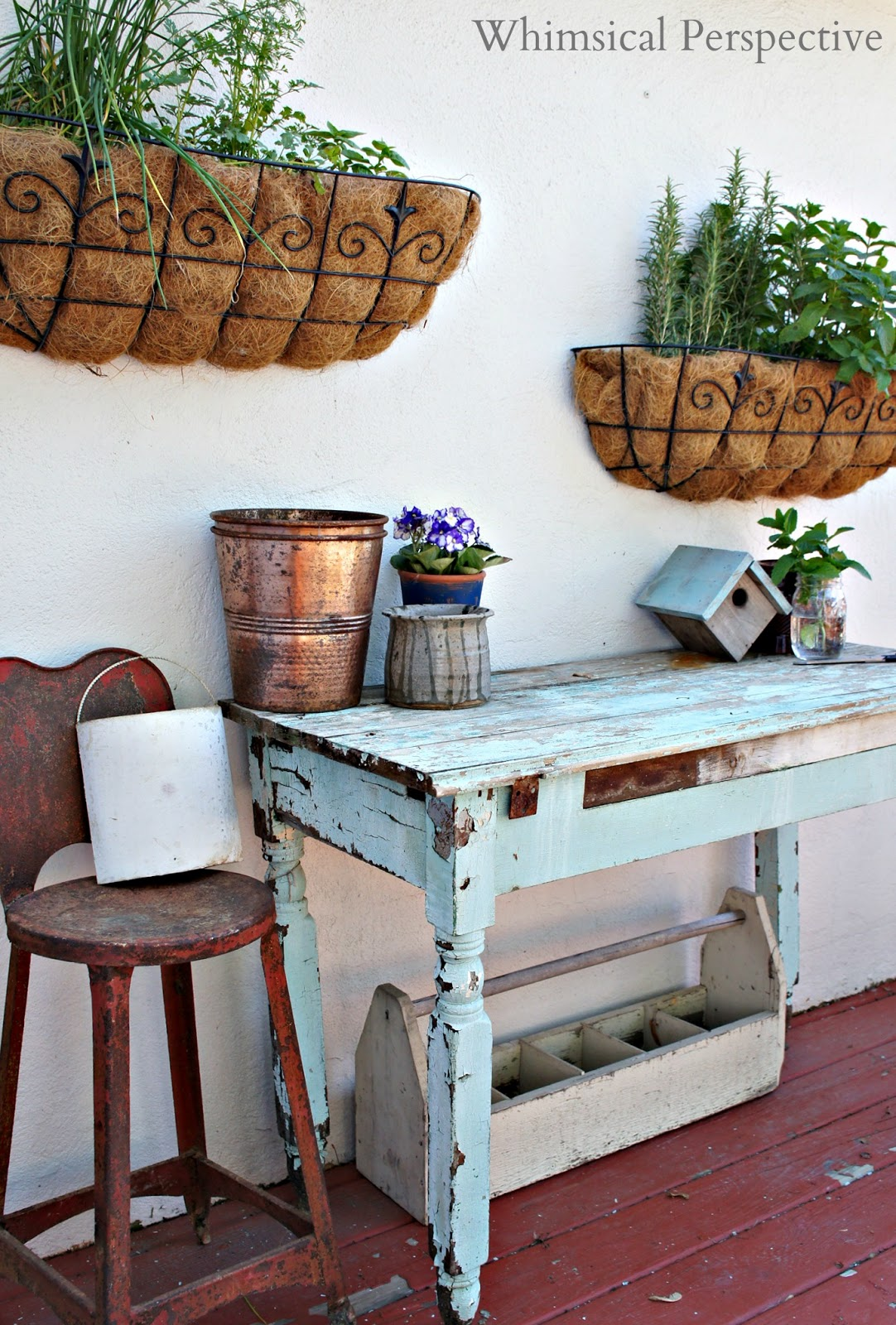for my potting table i used an old chippy table that i found at the