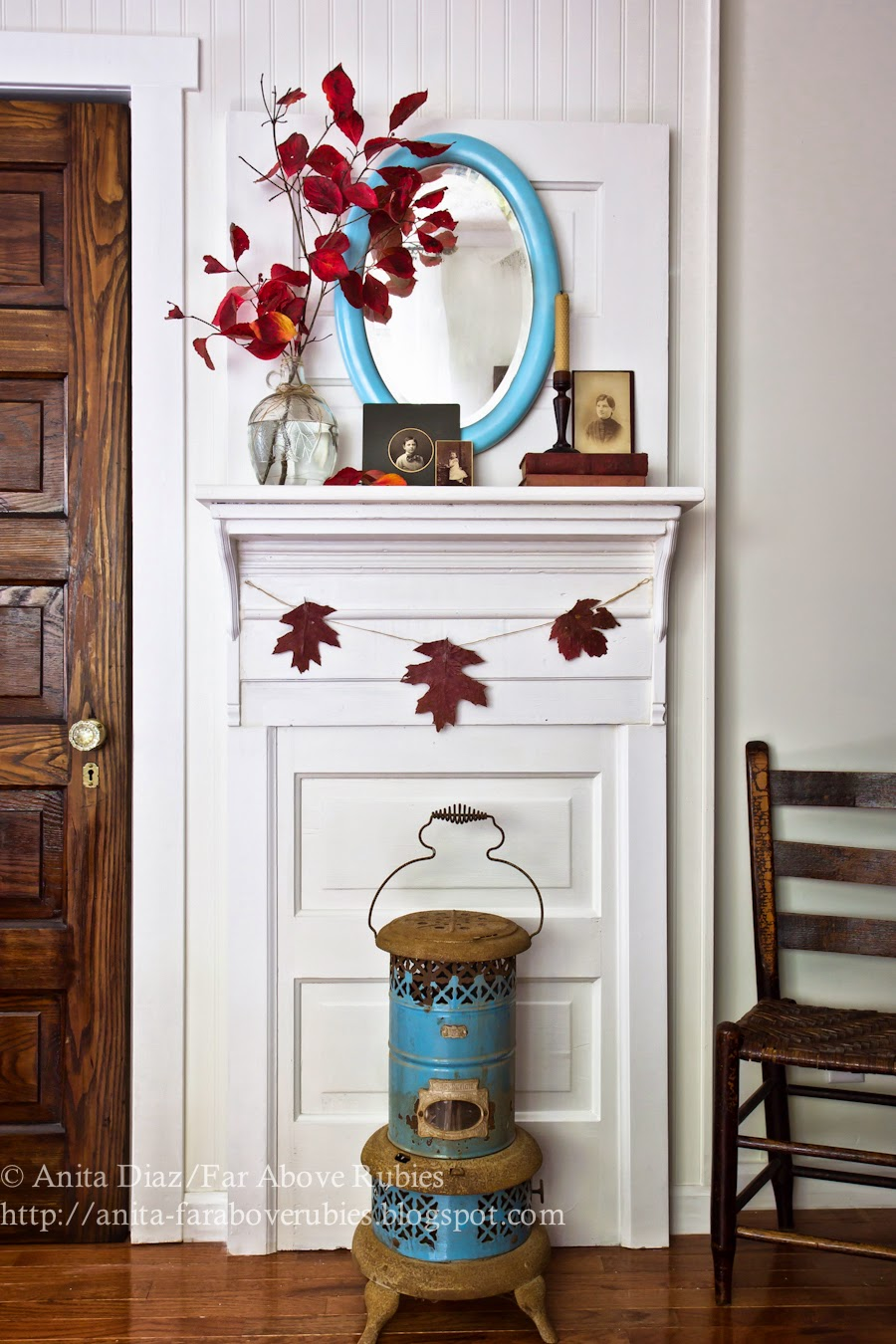 Far above rubies diy door upcycle into mantel for Above door decoration