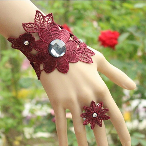 Woman Graceful Adjustable Bracelet Bangle Ring Big Flower Gothic Style-Dark green