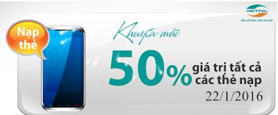 Viettel khuyến mãi 50% thẻ nạp theo danh sách ngày 22/1/2016