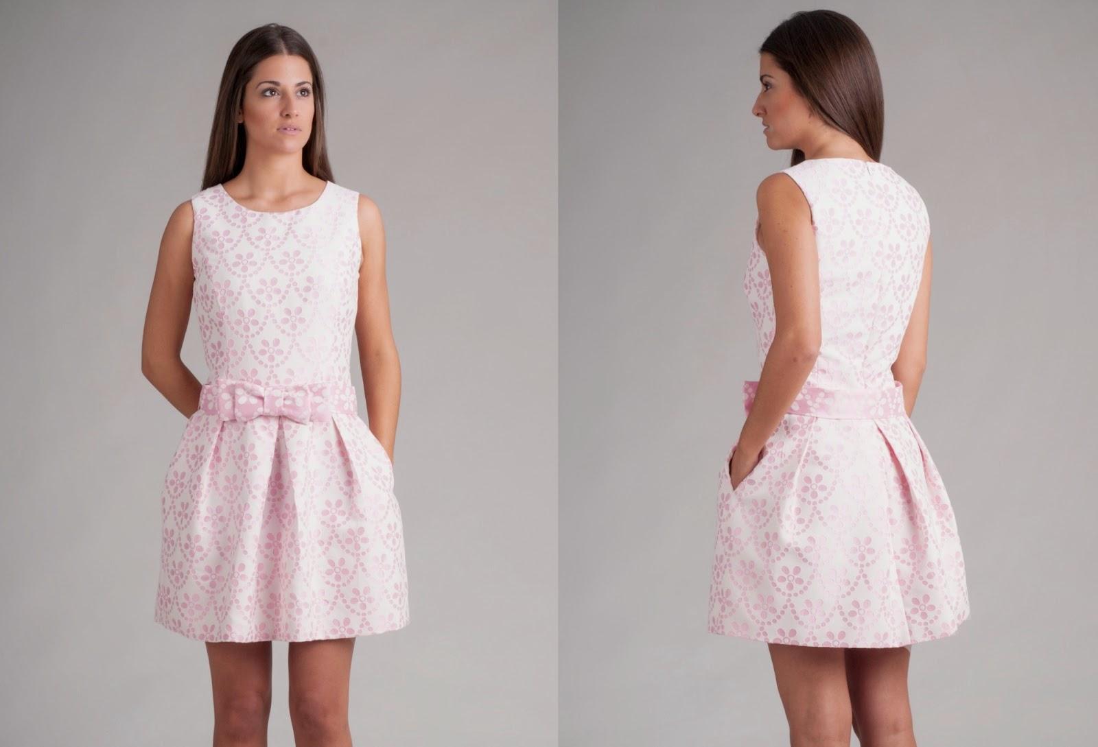 Vestido de algodón en color rosa, cuerpo entallado y falda de vuelo - Blancaspina