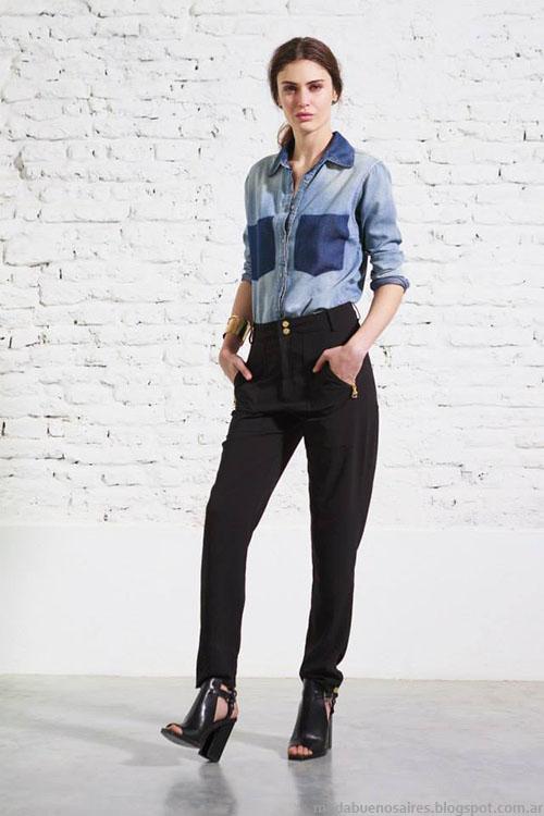 Melocotón primavera verano 2015 camisas de jeans.