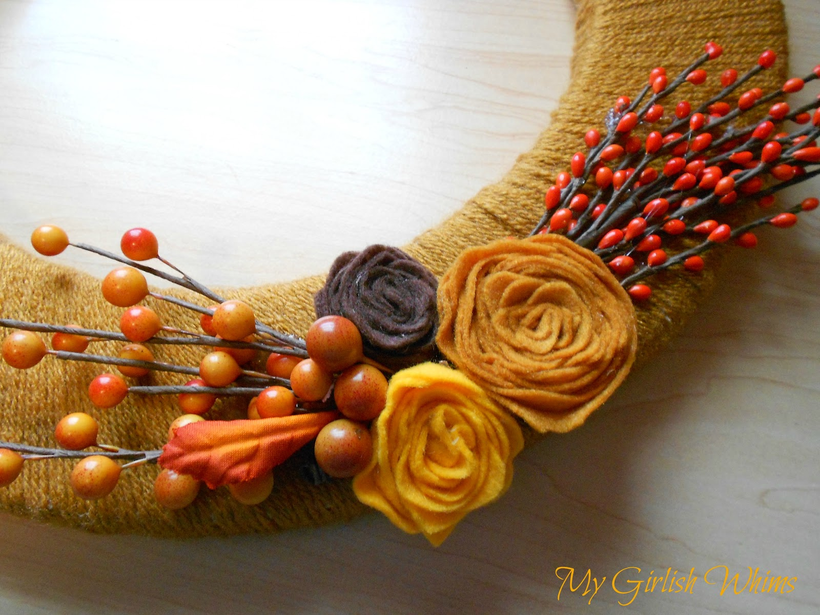 Yarn Wrapped Fall Wreath - My Girlish Whims