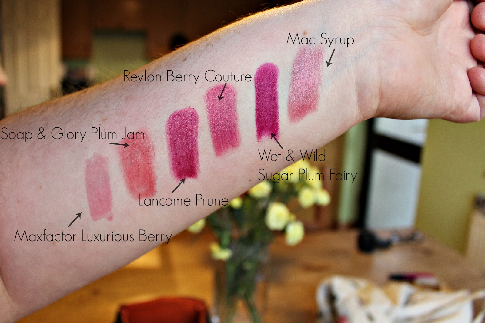 swatches of berry lip colours