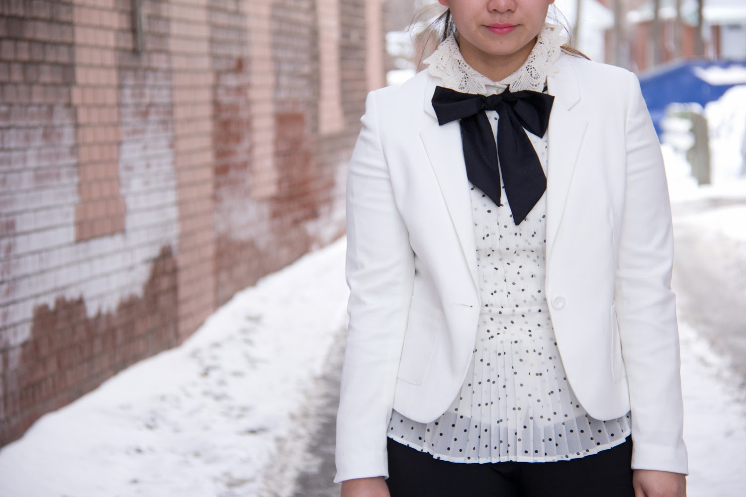 Lace-Collar, Black-And-White, Bow-Tie, Menswear-Inspired, White-Blazer, Polka-Dot
