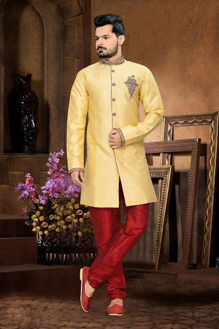 Yellow & Red Jacquard Art Silk Embroidered IndoWestern