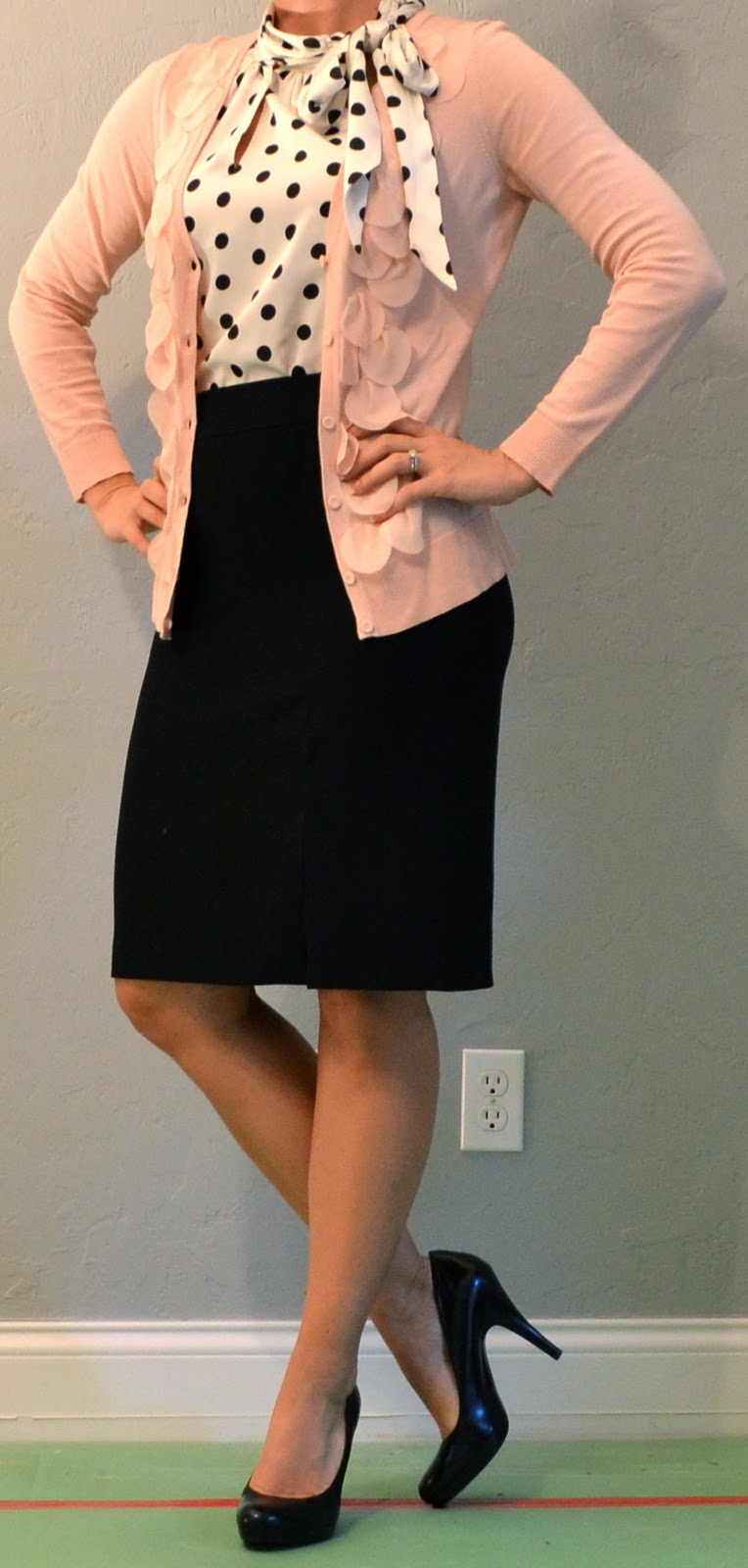 Outfit post pink cardigan polka dot blouse black pencil skirt | Outfit Posts