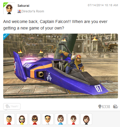 Masahiro Sakurai Welcome back, Captain Falcon! When are you ever getting a new game of your own?