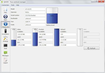 QtADB=>Phone Info - View Detailed Phone information and statistics.