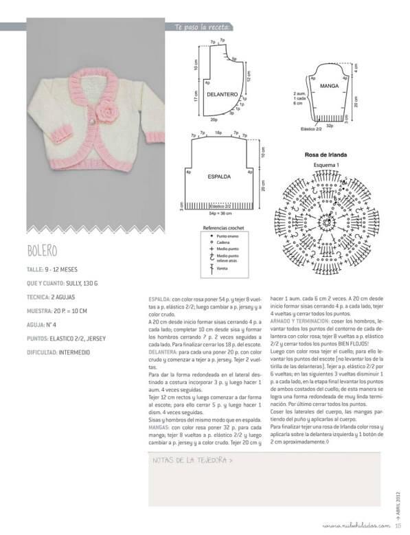 Patrón y molde de saquito de nena tejido con dos agujas