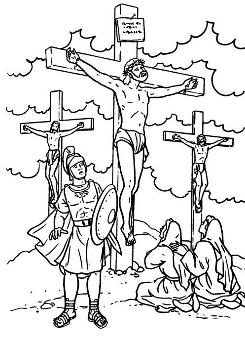 Crucificción de Jesús para colorear
