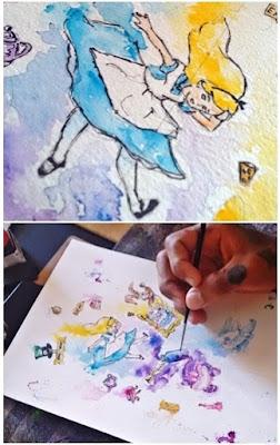 alice in wonderland, illustration alice in wonderland,watercolor, alice no país das maravilhas, aquarela, pintura aquarela, como pintar com aquarela, ilustração alice no país das maravilhas, watercolor illustration, painting, painting watercolor, lewis carroll