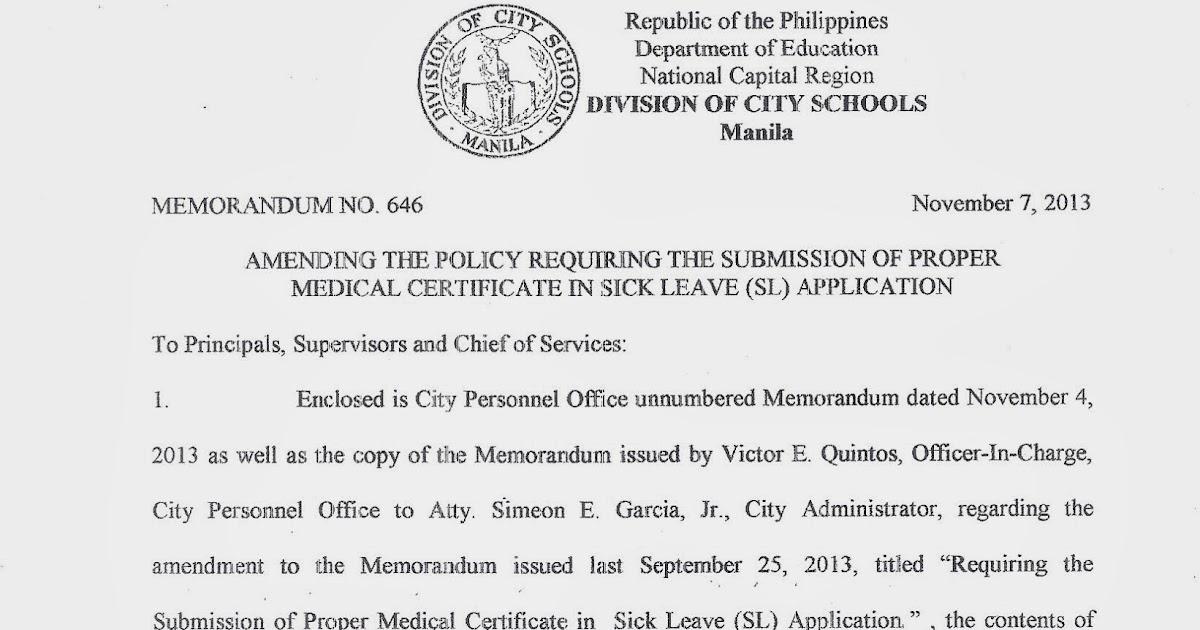 Department Of Education Manila: Division Memorandum No. 646