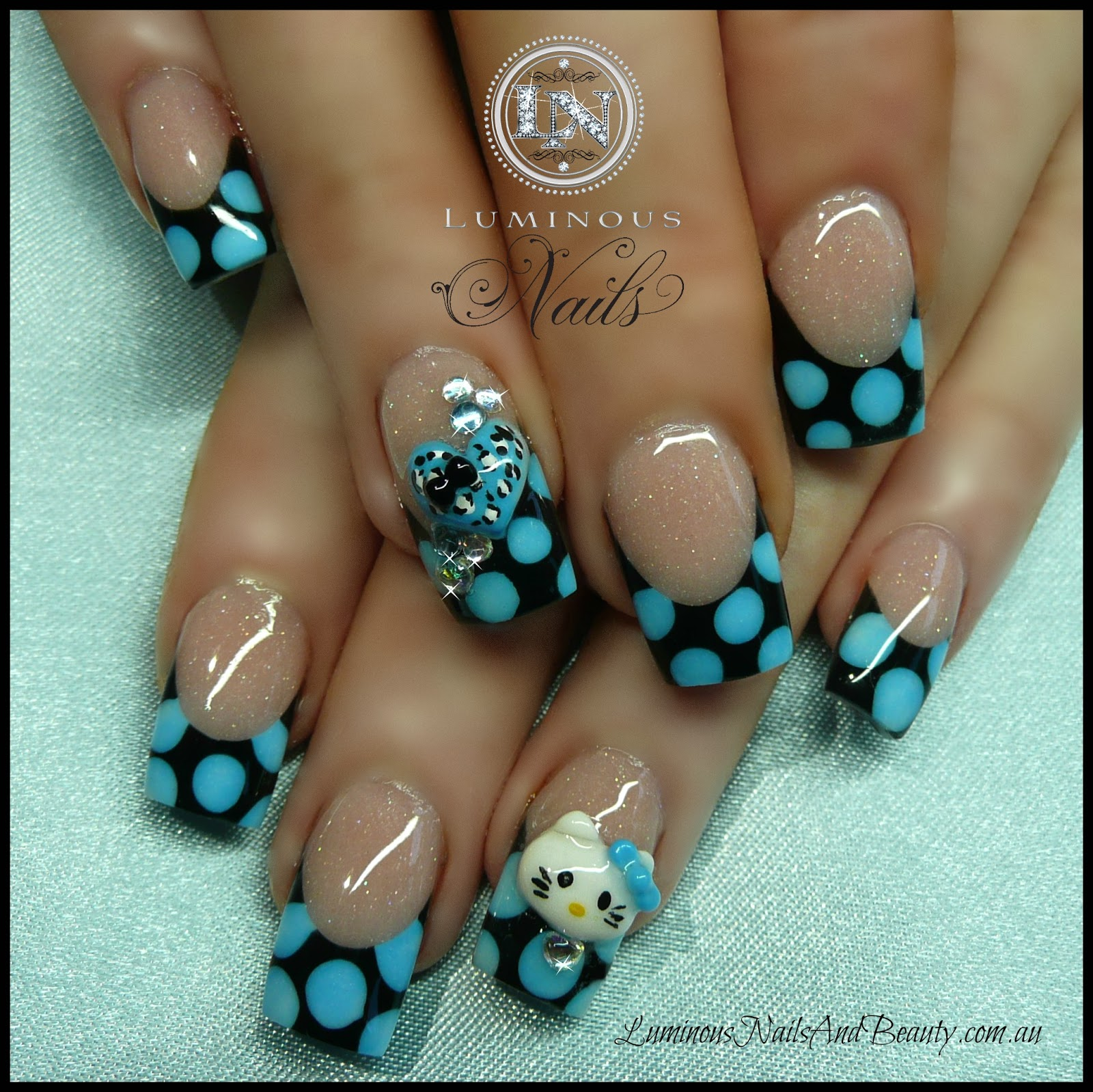 The Charming Simple white cheetah nails Digital Imagery
