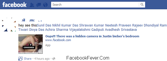 bieber bedroom facebook scam facebookfever Latest Facebook Spam  Oops!!! There was a hidden camera in Justin bieber's bedroom[Video]