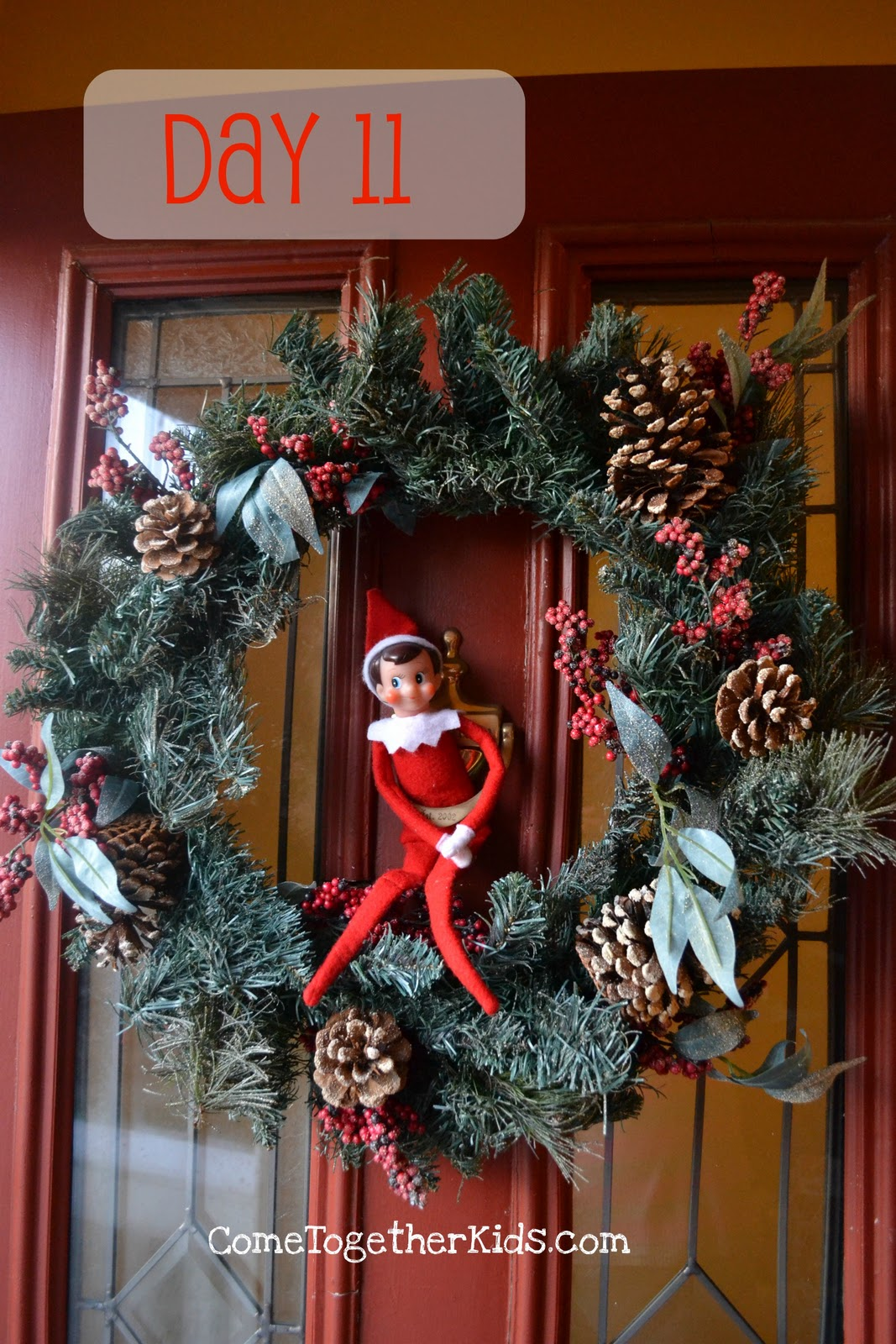 Come together kids elf on the shelf ideas week 2 for 12 days of christmas door decoration