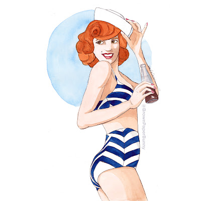 Watercolor fashion illustration of a vintage sailor girl in high wasted chevron bikini and sailor hat