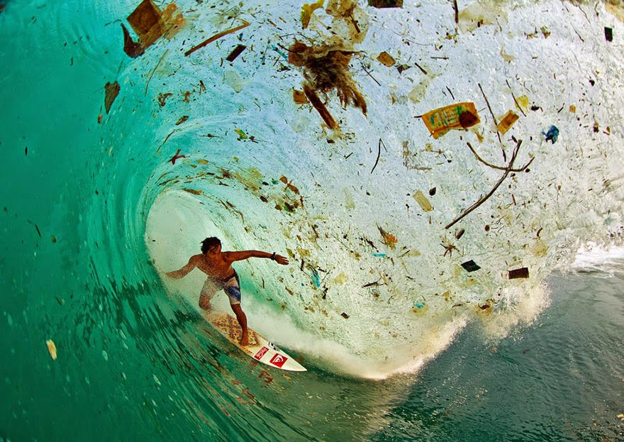 You Will Want To Recycle Everything After Seeing These Photos! - Surfing A Wave Full Of Trash (Java, Indonesia – The World's Most Populated Island)