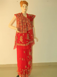 Lucknowi Chikan Red Georgette Saree