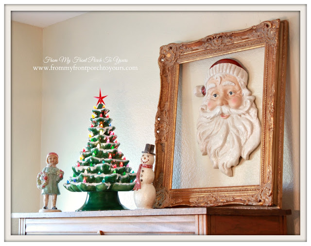 Farmhouse Christmas Kitchen-Breakfast Nook-Vintage Ceramic Christmas Tree-Large Santa-Vintage Gold Frame-From My Front Porch To Yours