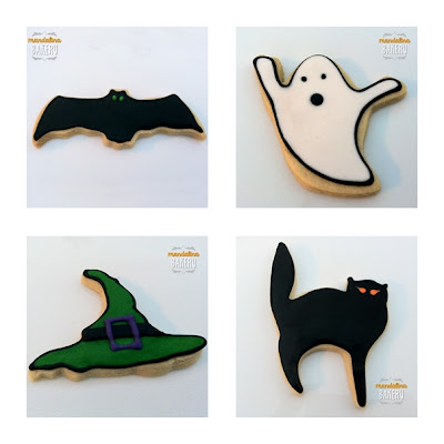 Galletas de Halloween: murciélago, fantasma, sombrero y gato