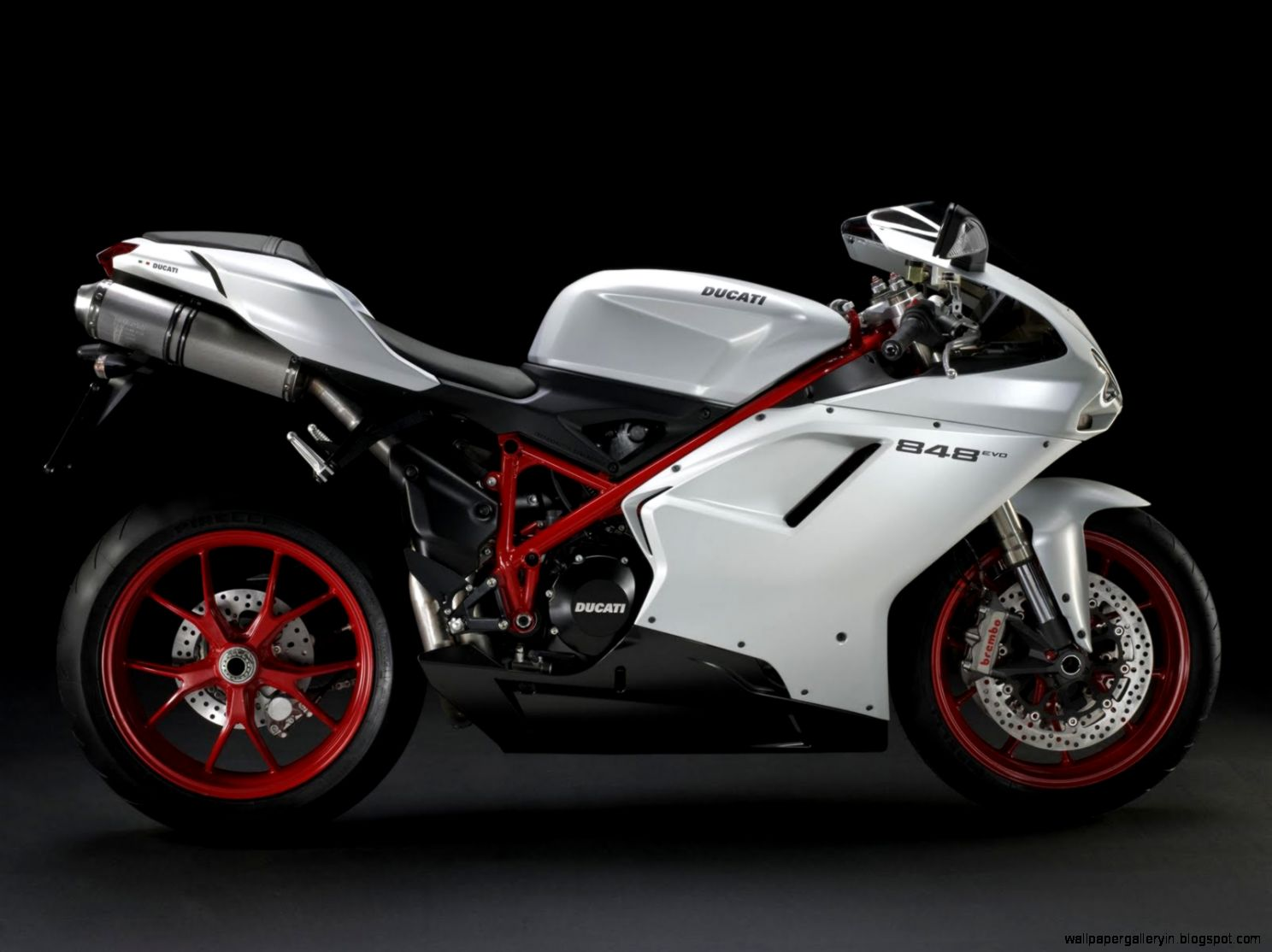 White Color Superbike Ducati 848 Evo Side View 13854 Wallpaper