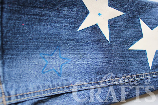 star stencil transfer to blue jeans