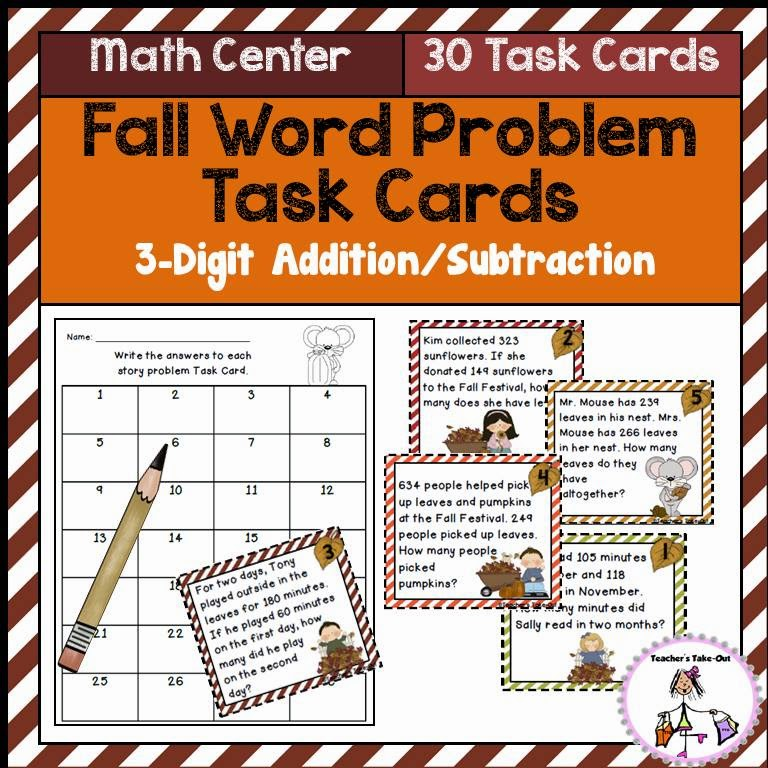 Fall Word Problem Task Cards