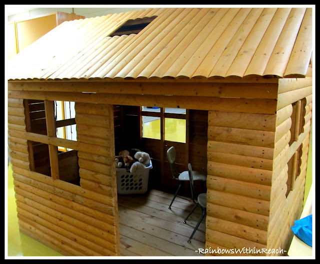 photo of: Log Cabin Reading Center in Preschool: Reading Corner RoundUP via RainbowsWithinReach