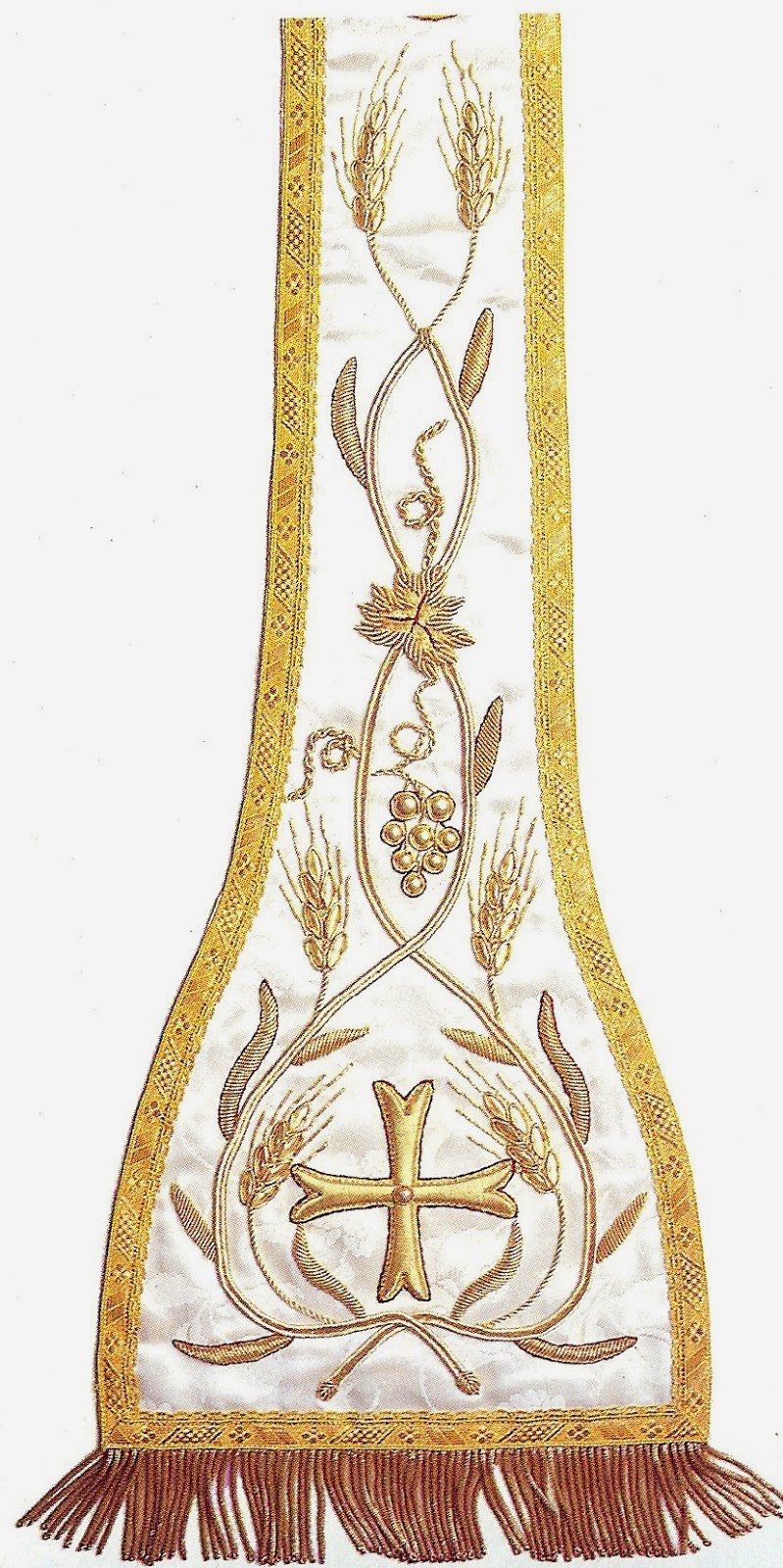 Heavily Embroidered With Heavy Gold Thread In Traditional Wheat (loaves)  And Grapes (wine) Symbols Collection Sisters Of St Joseph, North Sydney