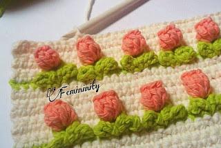 lale desenli tığ işi battaniye