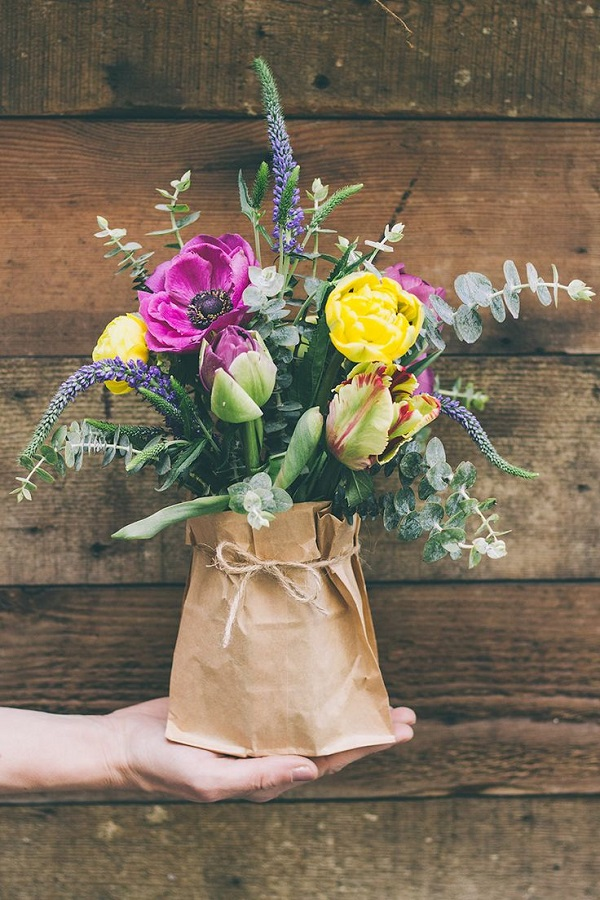 Express O Fresh Flower Paper Bag Bouquets