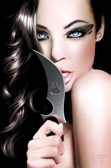 Imagen de una hermosa asesina semidesnuda sosteniendo un cuchillo cerca de su boca.