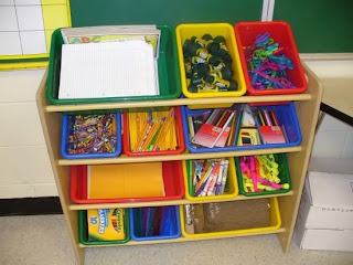classroom supply organization, classroom supplies
