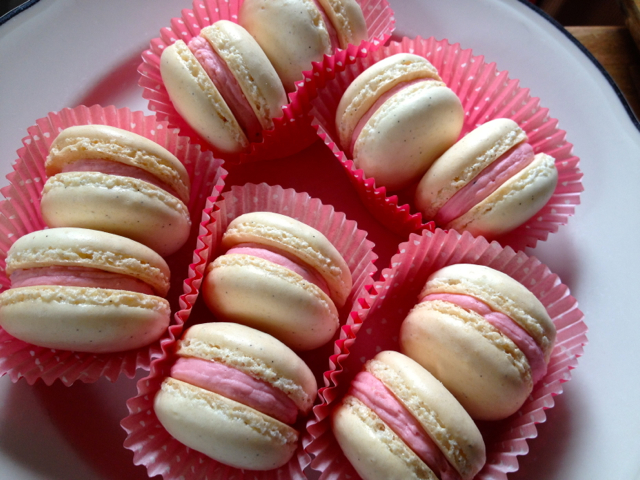 These pretty vanilla bean strawberry macarons came about because I had ...