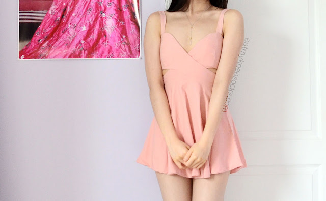 Romwe offers tons of spring and summer fashion styles, including this light pink spaghetti-strap cutout skater dress.