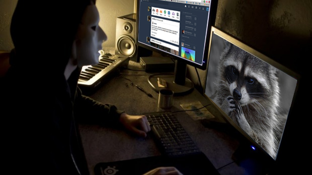 Na imagem: Foto de um hacker na frente de duas delas de computador, onde eu fiz uma montagem. Na primeira tela mostra um guaxinim, na segunda a página de entrada do Tumblr