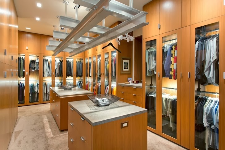 Walk in closet in Multimillion modern dream home in Las Vegas