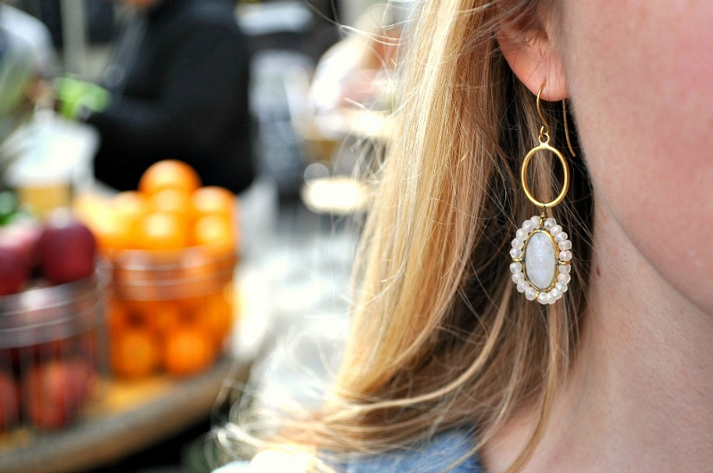 Rainbow Moonstone drop earrings from Anthropologie