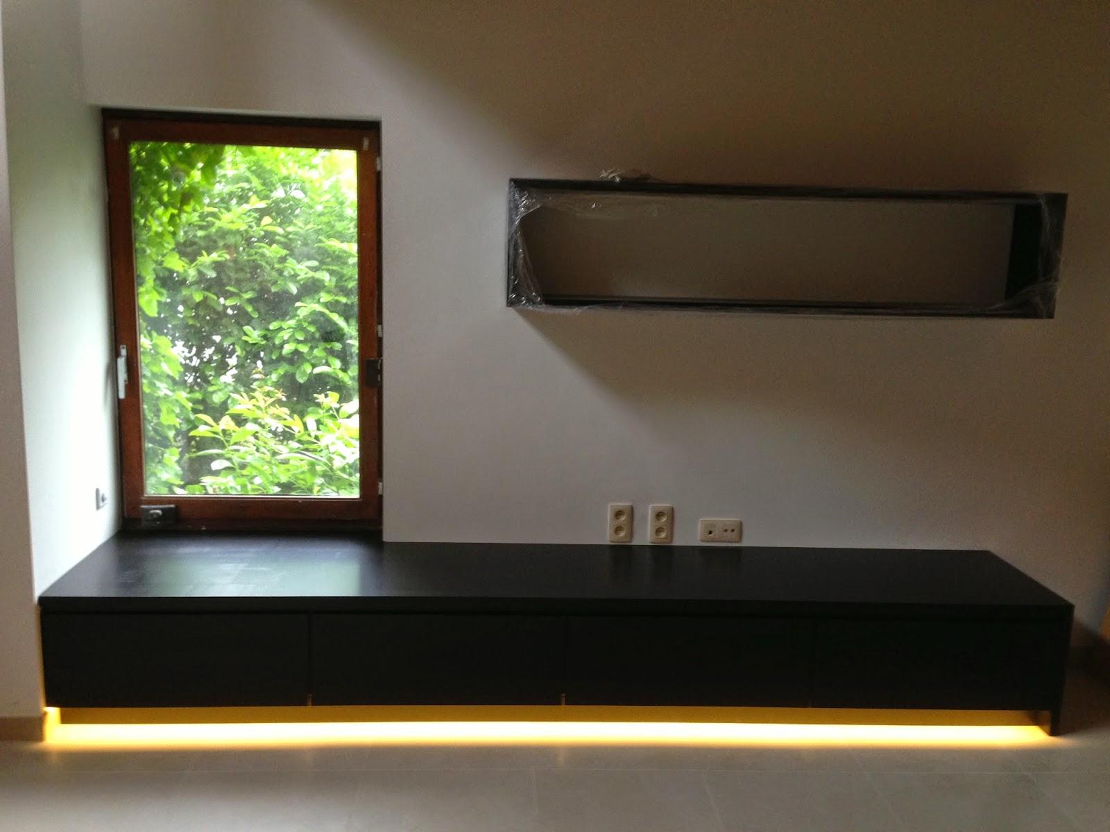 Lj woodworks meuble tv mdf peint noir mat 4 tiroirs led for Meuble cuisine noir mat