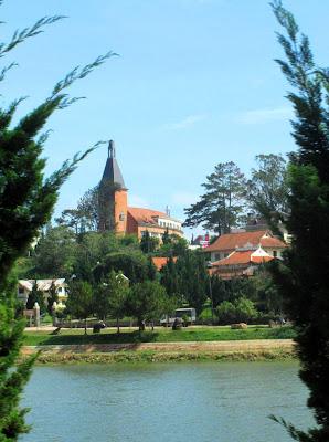 Lycee Yersin University from Lake Xuan Huong