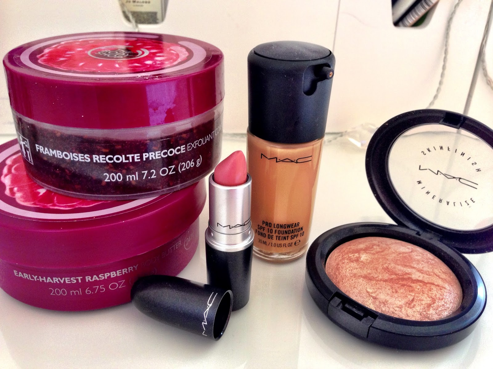 MAC Prolong Wear foundation, MAC MSF Soft & Gentle, MAC Creme Cup Lispstick, The Body Shop Raspberry Body Butter, The Body Shop Raspberry Body Scrub