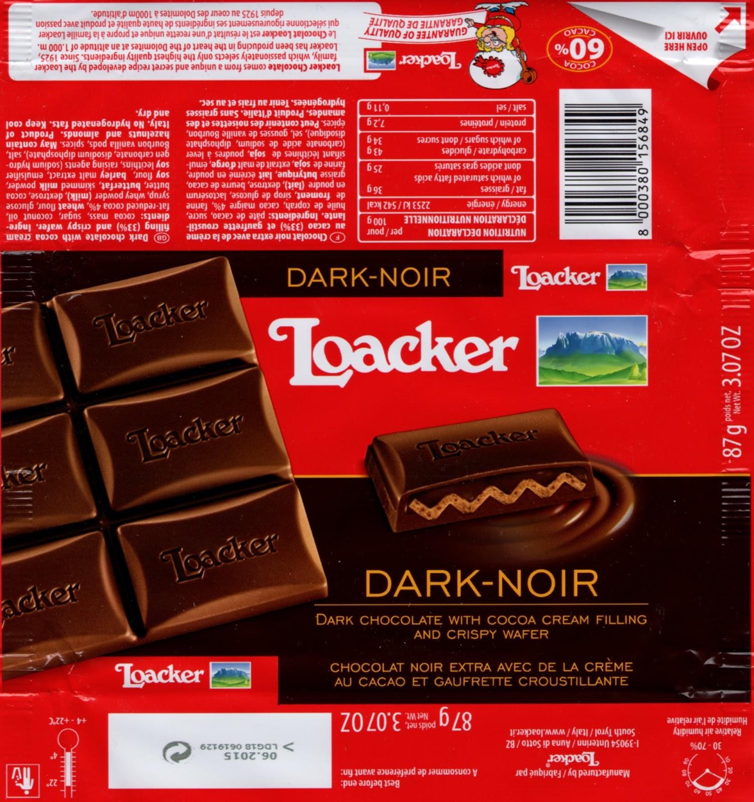 tablette de chocolat noir fourré loacker noir et gaufrette croustillante