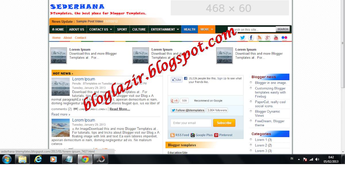 Download Gratis Sederhana Template   bloglazir