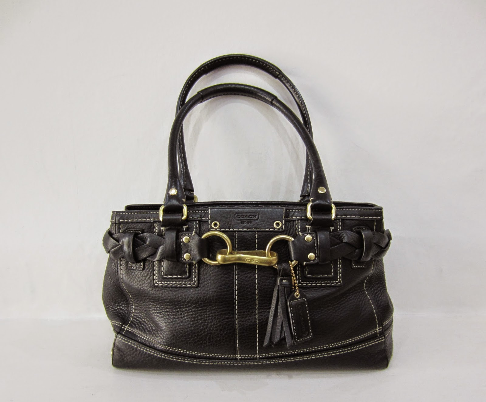 Coach Black Leather Two Handled Bag with White Stitching