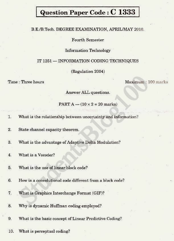 Anna University 5th semester IT May/June 2010 ITC question paper