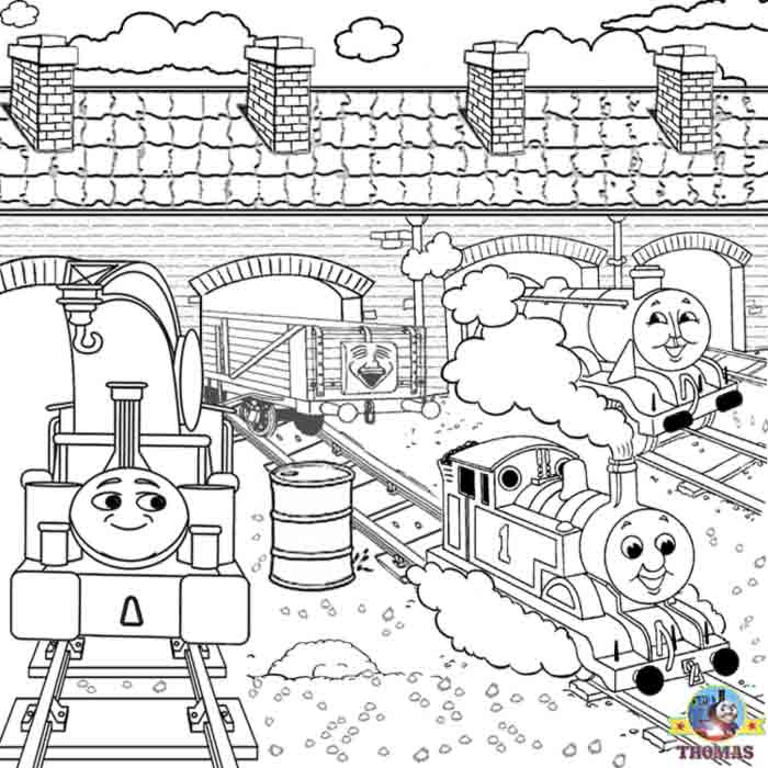 Harvey big train Gordon Thomas the tank engine coloring pages for boys  title=